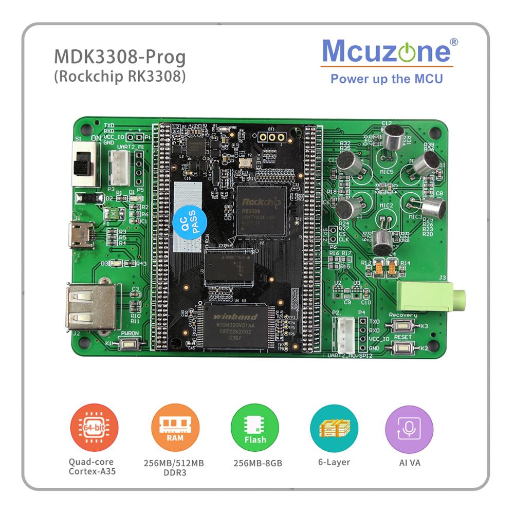 Rockchip RK3308 Based MDK3308_Prog, Quad-core Cortex-A35 Up To 1.3GHz, 256MB DDR3/3L 256MB NAND, AI VA HMI MT7601 USB WIFI