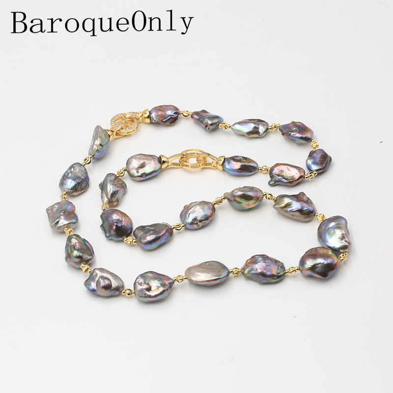 BaroqueOnly THREE WAYS CAN WEAR Mixed-color Baroque Natural Freshwater Pearl Necklace sweater chain 2018 new arrival NS