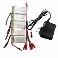 5PCS 3.7V 850mah lithium battery with 1 care 5 US charger for SYMA X56 X56W X54HW folding quadcopter accessories