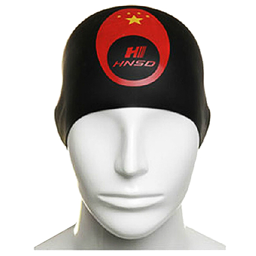 HNSD Silicon Swimming Hat Cover Protect Ear Long Hair Waterdrop Swimming Caps Black