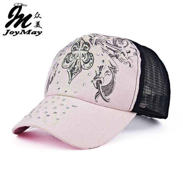 2016 New Summer Outdoor Shading Cap Flower Pattern Rhinestone Pierced Mesh Baseball Cap Female Sports Cap Free Shipping B297