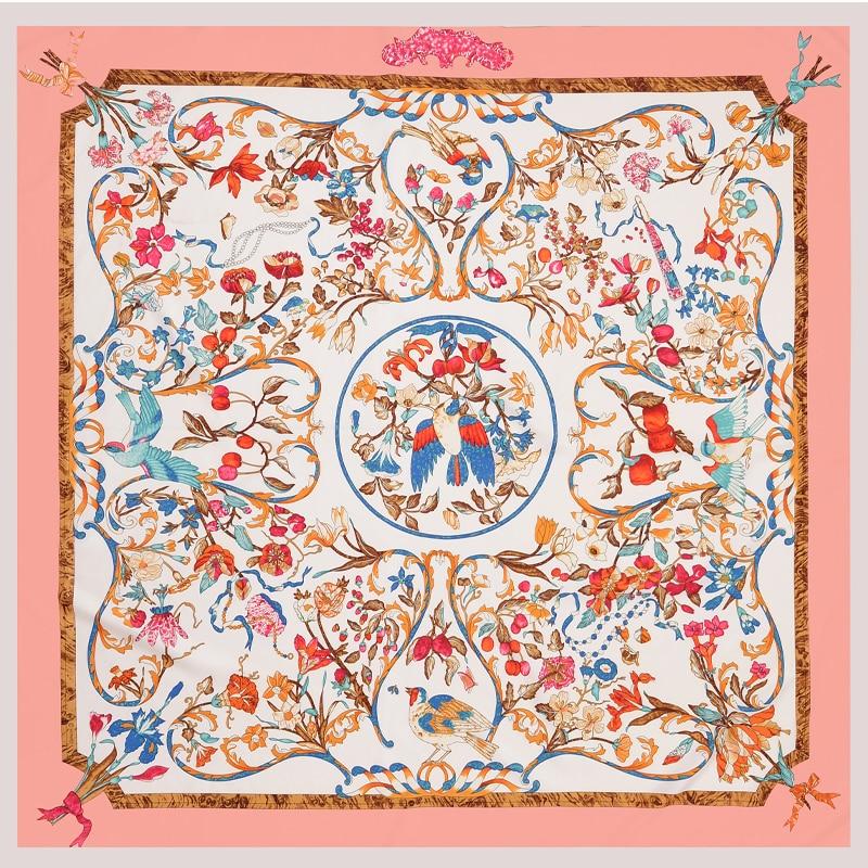 100% Soie Écharpe Femmes De Luxe Marque Poncho Rose Hijab Angelo Imprimé Carré  Foulards Grand Châle De Mode Tête Wraps 130 130 cm Nouveau dans Foulards de  ... 5187a8b7447