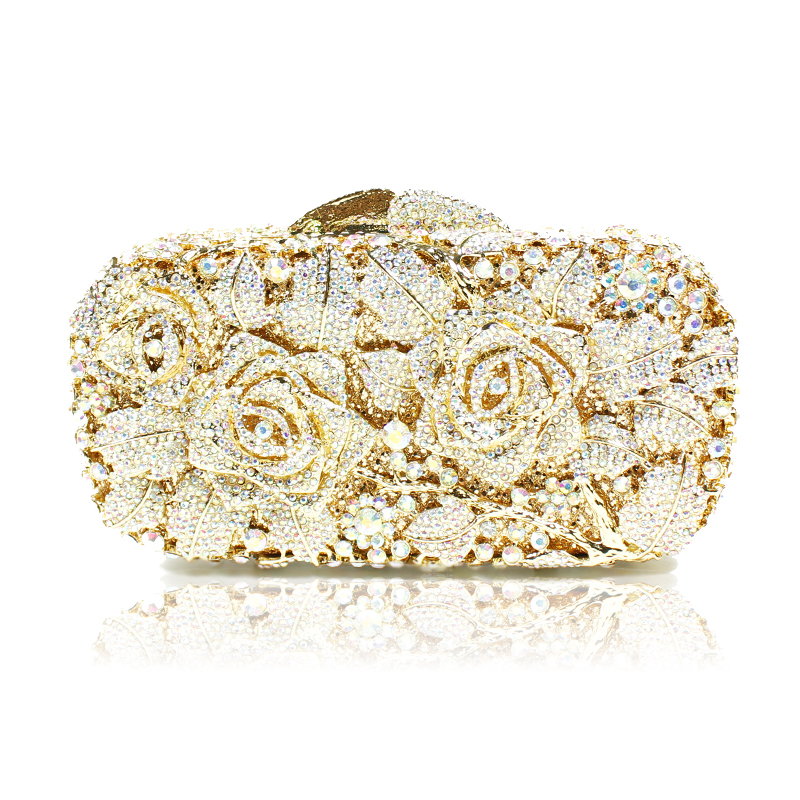 Gold Silver Evening Bag Rose Flower Holiday Party Clutch Purse Crystal Mini Bag Stylish Day Clutches Prom Ladies Handbag transformers маска bumblebee c1331