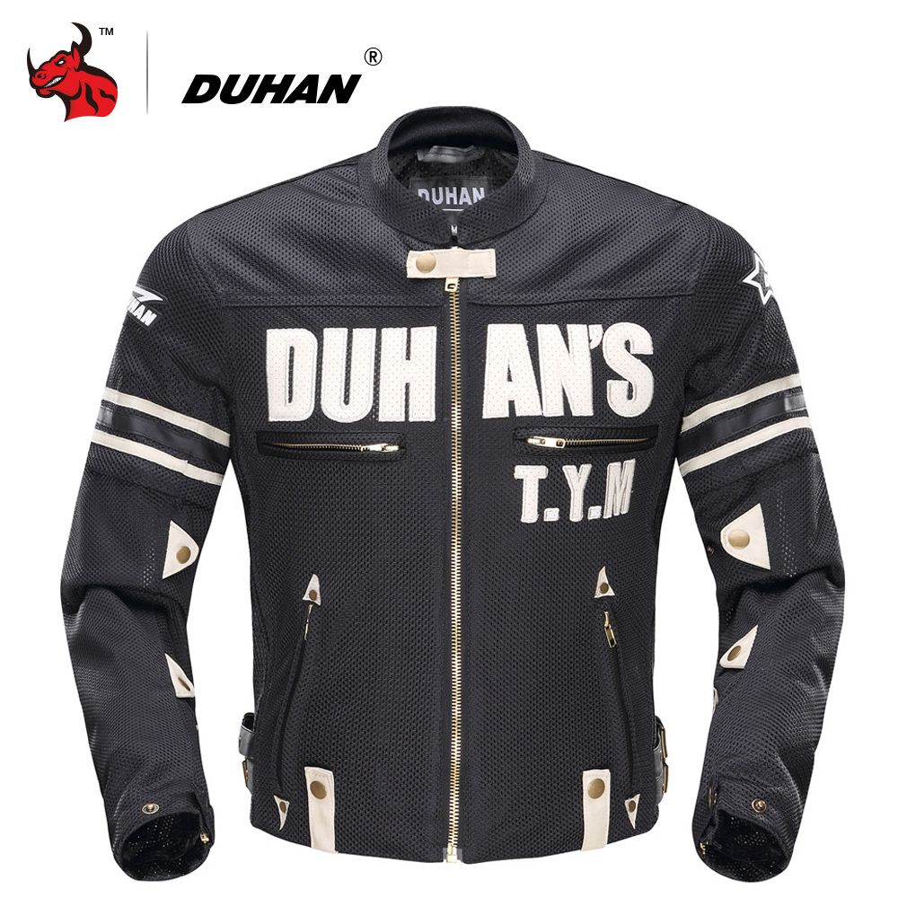 DUHAN Motorcycle Jacket Summer Men Breathable Mesh Moto Jacket Motorcycle Racing Jackets Protector Moto Protective Gear
