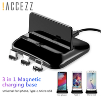 !ACCEZZ Universal Phone Stand Holder Magnetic Charge 8 Pin Type C Micro USB For Samsung Lighting Charging For iphone 8 X Plus XS|Phone Holders & Stands|Cellphones & Telecommunications -
