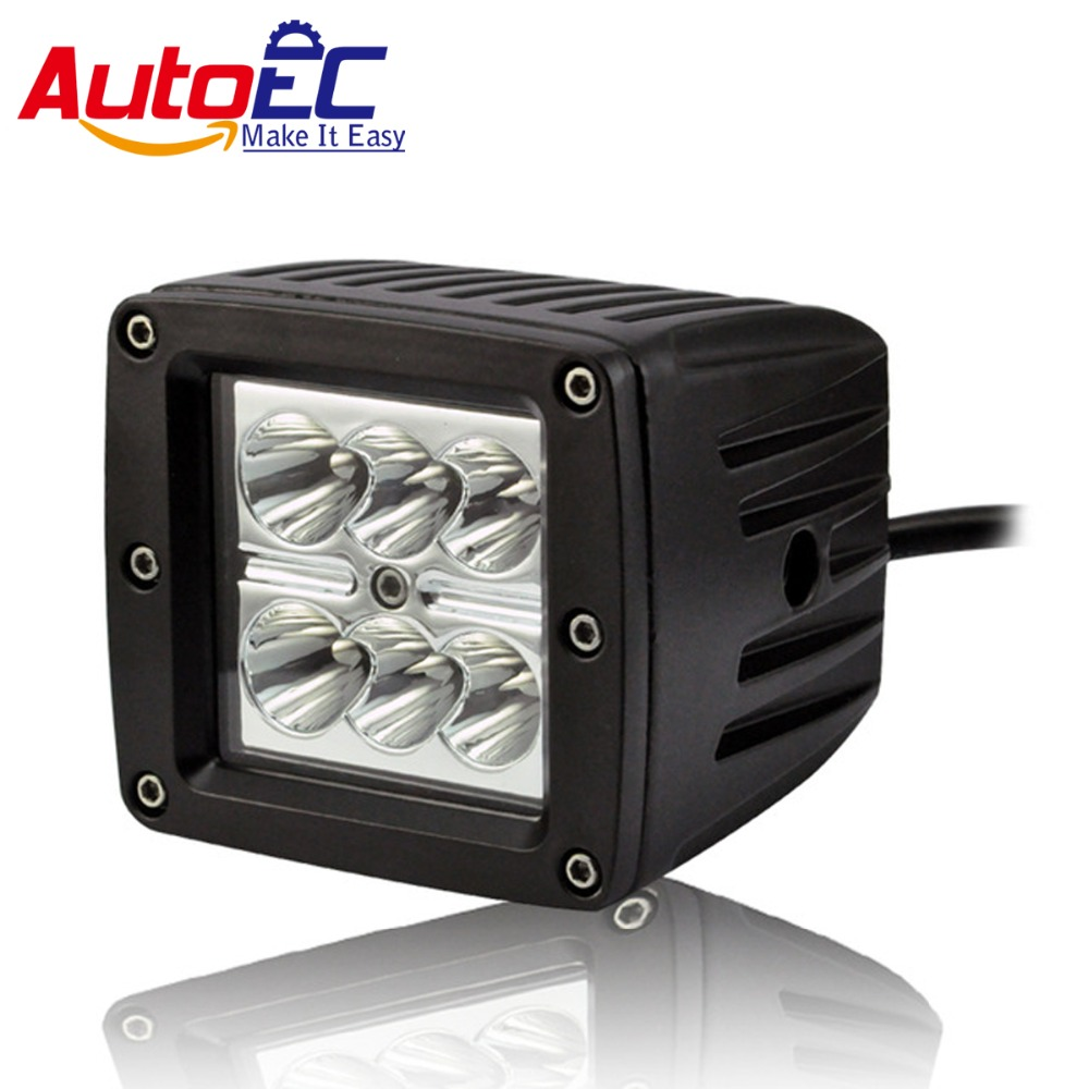 AutoEC LED Work Light 18W Spot Flood Beam 4 inch 6 led 1800LM 6000-6500k for Car Truck Boat Motorcycle Vehicle DC12-30V #LX42