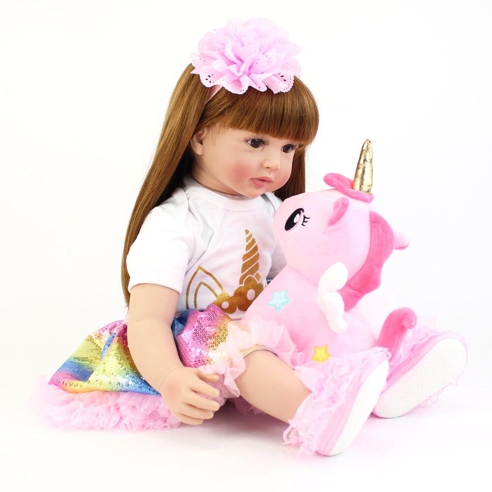 60 cm grande taille Silicone vinyle Reborn poupée jouet réaliste princesse bambin bébés avec thème licorne vivant Bebe fille cadeau d'anniversaire - 4