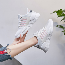 Liren 2019 Summer New Fashion Casual Lace-up Sneakers Women Low Heels Round Wrapped Toe Woman for Sport Size 35-40