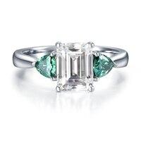 5.3 캐럿 ct 데프 컬러 에메랄드 모이 사 나이트 다이아몬드 약혼 반지 정품 14 천개 585 화이트 골드 고급 보석