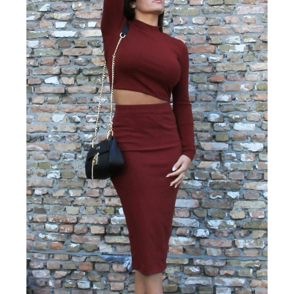 Long Sleeved High Collar Two Piece Dress Fleece Sexy Basic Dress in Dresses from Women 39 s Clothing