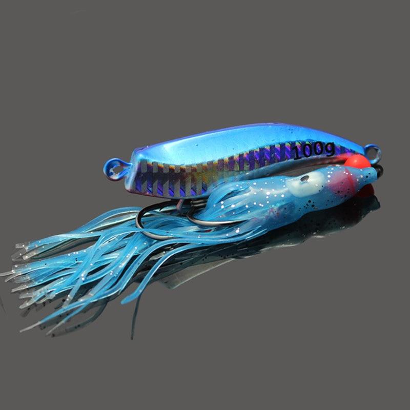 2PCS 60g holografikus fémhorgászfúvóka, tintahal szoknya kék - Halászat