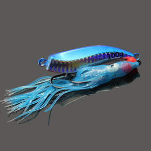 2PCS 60g Holographic Metal Fishing Jig Lure With Squid Skirt Blue Color