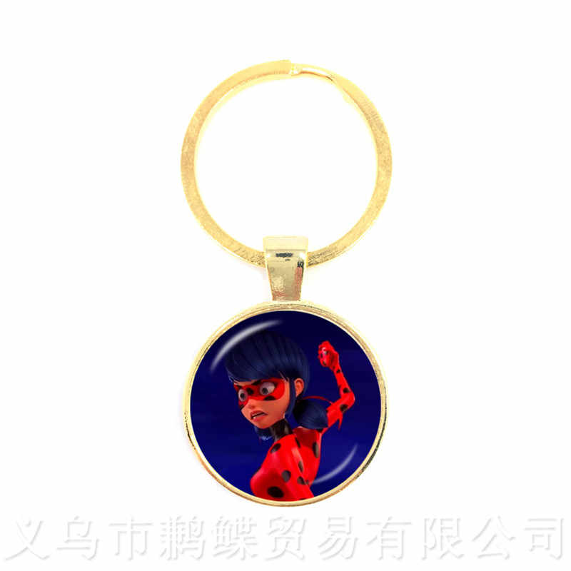 2018 New  Ladybug Keychains Glass Cabochon Pendants Fashion Jewelry For Men Women Kid Keyring