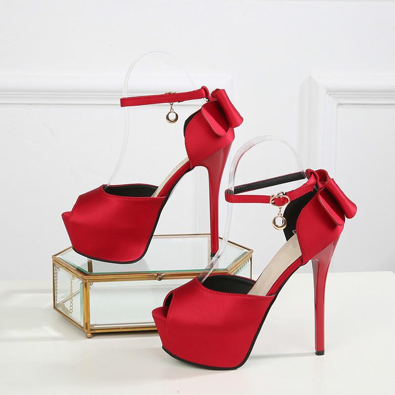 Summer Solid Sexy Pumps Women Sandals Shoes Wedding 3.8cm-4.5cm Platform Silk Buckle Strap Super High Heels Party Female Shoes 10