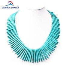 CAMDOE DANLEN модное женское ожерелье s Бирюзовый говлит в форме полосы драгоценный камень винтажное ожерелье 48 см длинное массивное Ожерелье Подвески