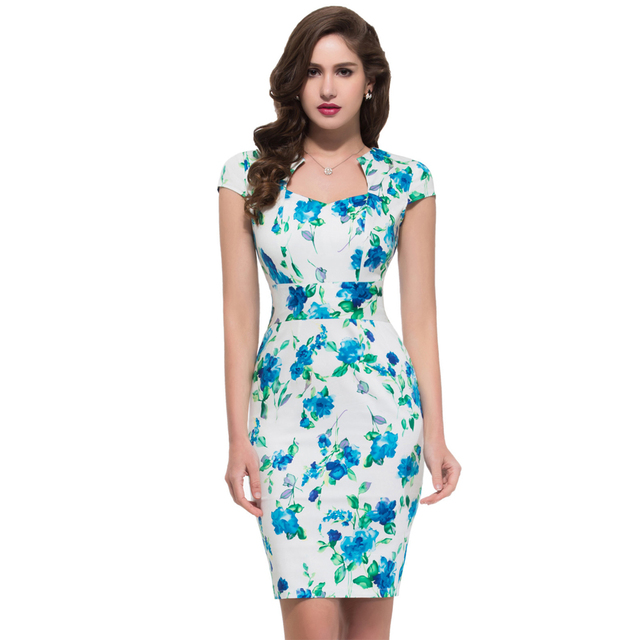 Summer Dress 2016 50s Vintage Womens Sexy Dresses Party Night Club Sheath plus size Vestidos floral bodycon Women Pencil Dress