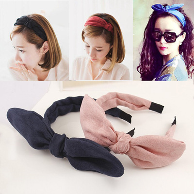 Korean headdress hair accessories cotton cashmere bow rabbit ears hair bands, free home delivery korean hair jewelry bow hair hoop headband free home delivery