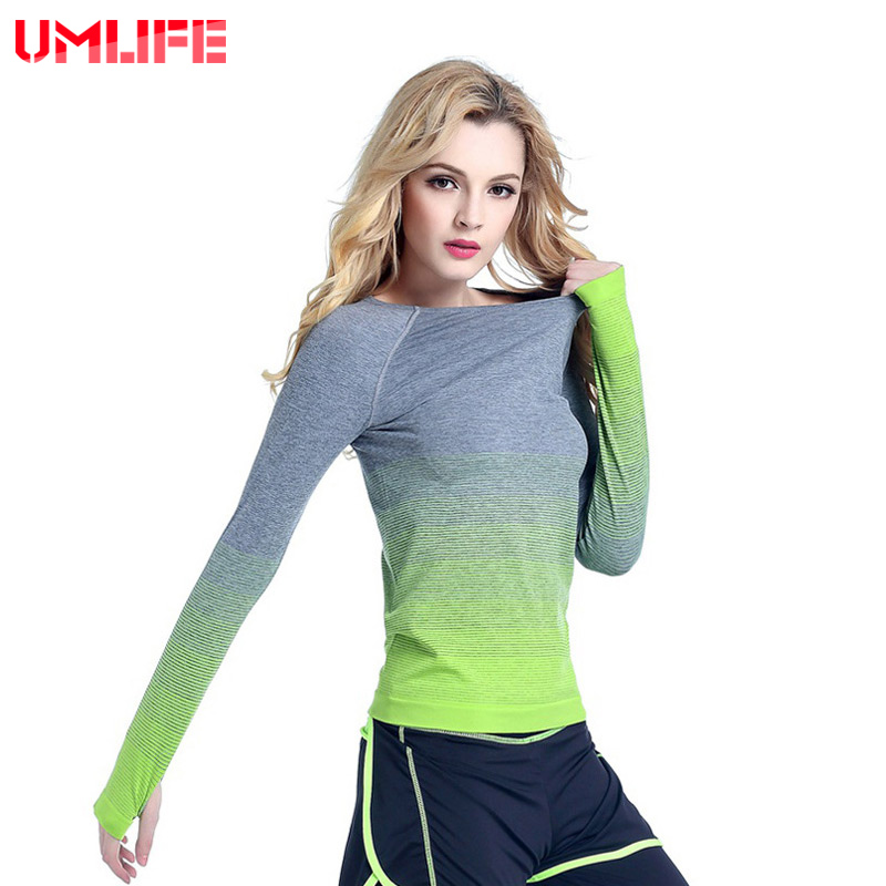 UMLIFE Fitness T Shirt Women Long Sleeve Running Shirt Elastic Sport Clothes Ladies Yoga T-shirt Outdoor Fitness Tops Ropa Mujer albreda yoga shirt women gym sports fitness women running clothes for women solid long sleeve spring autumn base shirt fitness