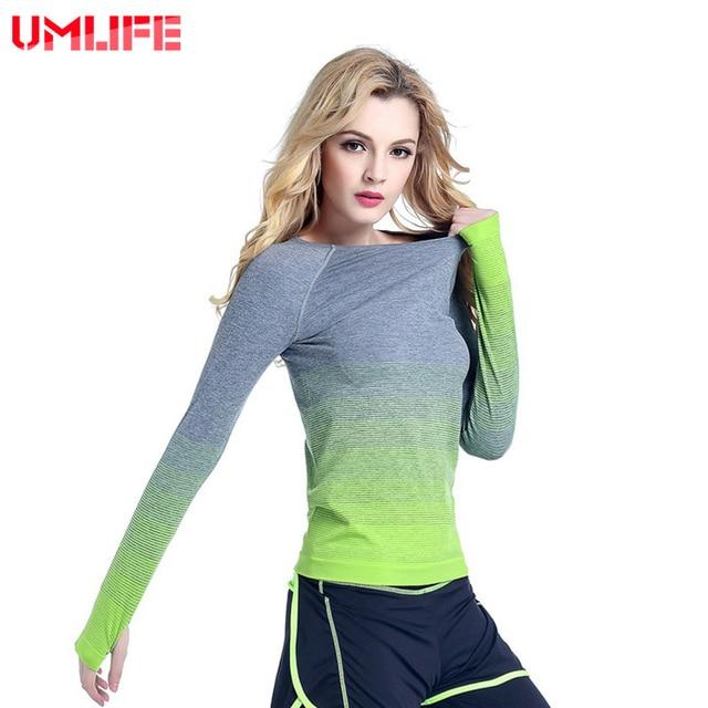 68f289ed037c2 UMLIFE Kadın Spor Yoga Sonbahar Uzun Kollu T Gömlek Spor Takım Elbise Spor  Koşu Hızlı Kuru