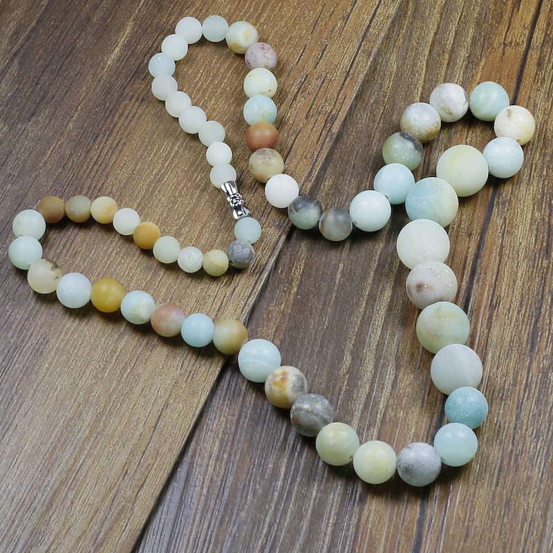 Natural 6 8 10 12mm Amazonite Stones Beads Necklace High End Dropshipping Jewelry Women Vintage Yoga Gifts Islamabad