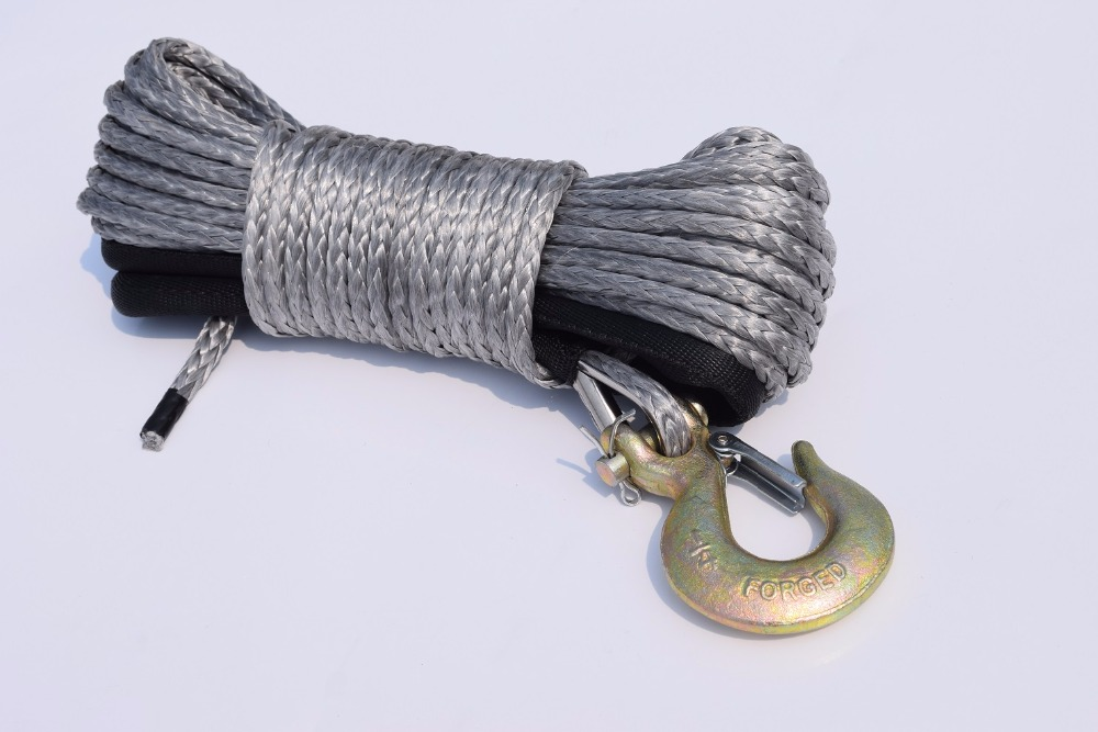 Grey 6mm*30m Synthetic Winch Rope,ATV Winch Line,Boat Winch Cable,Durable UHMWPE Rope For ATV UTV Vehicle Car Motorcycle green 6mm 24m atv winch cable add synthetic hawse fairlead winch rope 6mm atv winch cable for electric winches