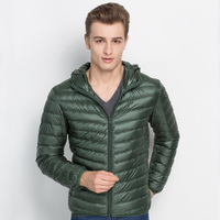 Hoody winter thin down jacket men duck parka solid light mens snow coat for man outerwear casual cold proof parkas S 3XL size