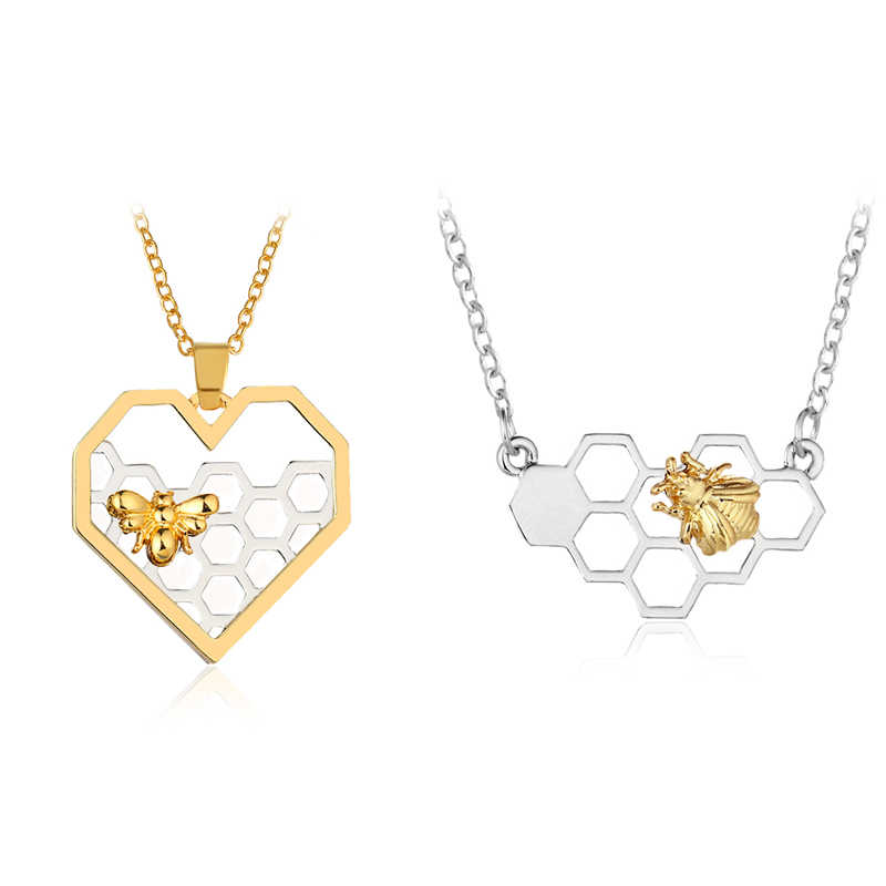 Bee Honeycomb Heart-Shaped Honey Bee Necklace Animal Pendant Necklace For My Lover Jewelry Party Prom Gifts