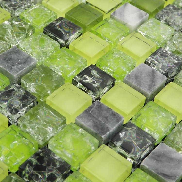 home improvement green ice crackle glass mixed stone mosaic tiles glass backsplash tiles express free shipping