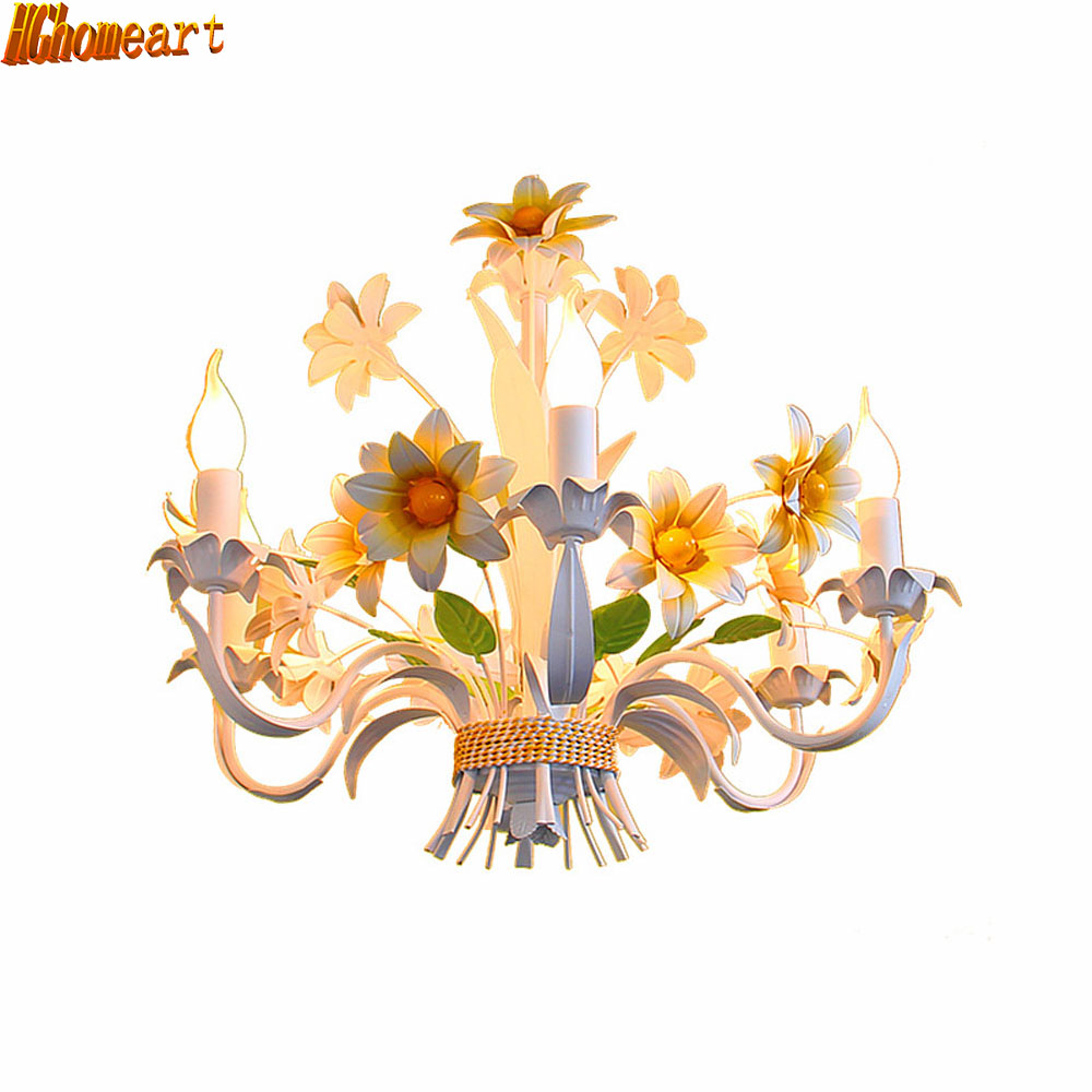 American Iron led lamp pastoral countryside Chandeliers children's room bedroom lamp Chandeliers loft lamp 3 4 6 8 head american pastoral sitting room dining room study bedroom chandeliers cloth art act the role ofing