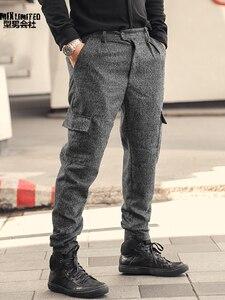 Image 5 - Men British Style Grey Casual Pockets Slim Fit Woolen Brand Suit Pants Metrosexual Men Zipper Top Quality Straight Trousers K928