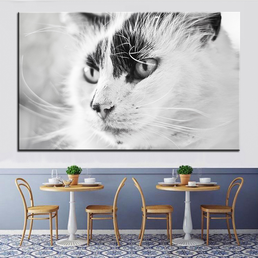 Large size Printing Oil Painting beautiful cat Wall ...