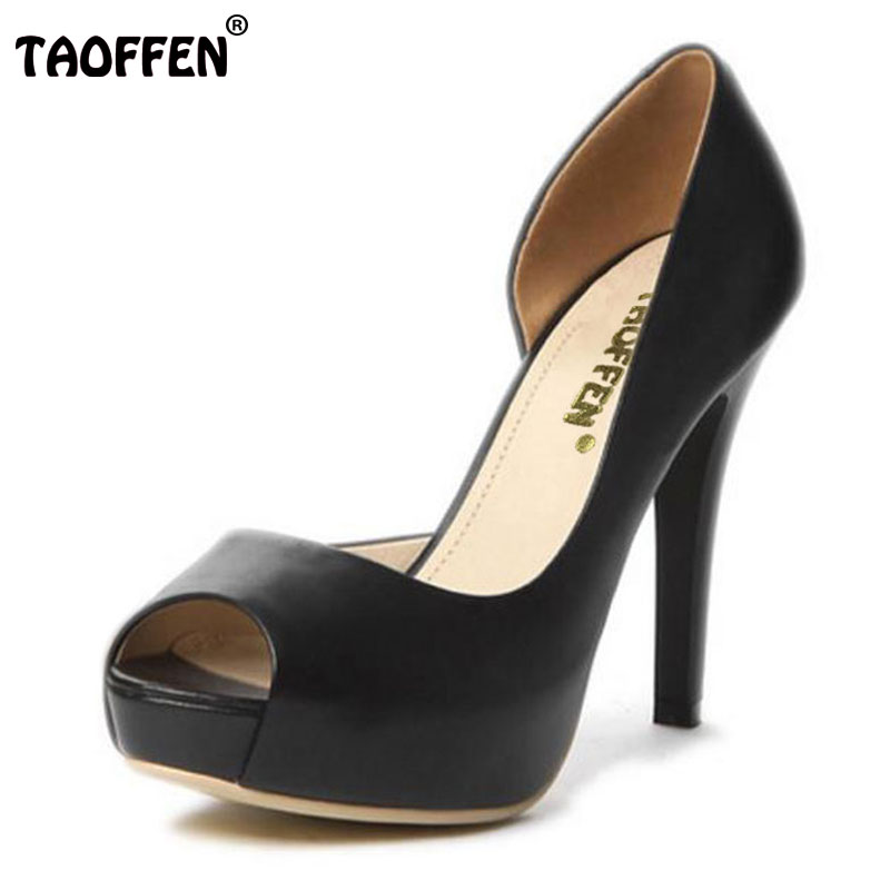 TAOFFEN women real genuine leather platform peep open toe high heel shoes sexy  brand pumps ladies heels shoes size 34-39 R5616 dropshipping best selling genuine leather super high heel 12cm platform 3 cm evening shoes sexy point toe high heels r243