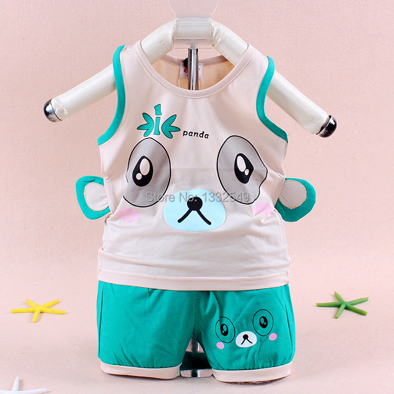 9dde5f6a70143 2015 summer 3 months -2 years old baby boy bamboo fiber leisure 3 colors  dress sleeveless wide shoulder panda baby clothing set