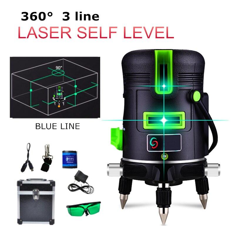 3 linhas de Auto Nivelamento Automático Linhas de Nível Laser Horizontal Vertical 360 Graus Azul Cruz Ao Ar Livre/Interior Decoração Da Casa DIY ferramentas