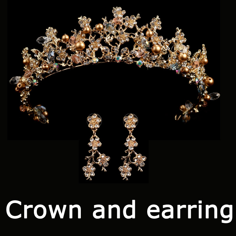 HTB1FkxKshSYBuNjSsphq6zGvVXaj Bridal Wedding Tiara Headband with Earrings