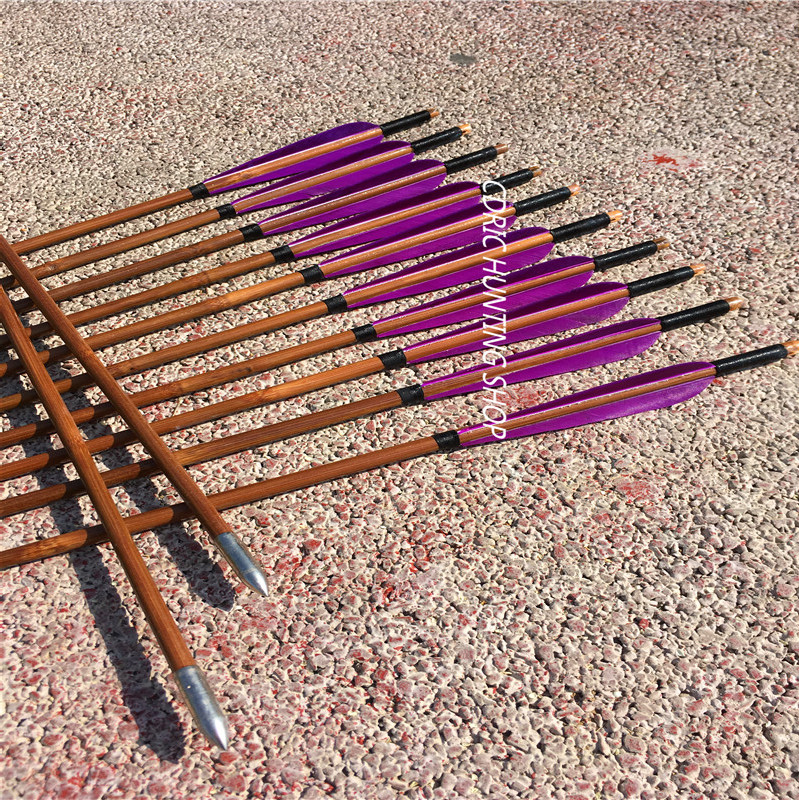 12PK NEW bamboo arrows Purple feather Archery target point Outdoor shooting