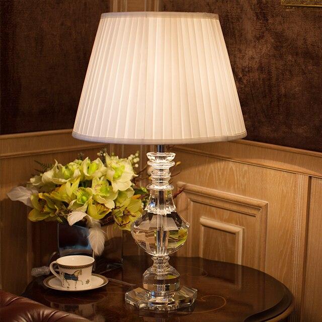 US $256.2 30% di SCONTO|Luxary classico Americano da tavolo camera da letto  luce foyer lampada da tavolo in cristallo Europeo di vetro tavolo alto ...