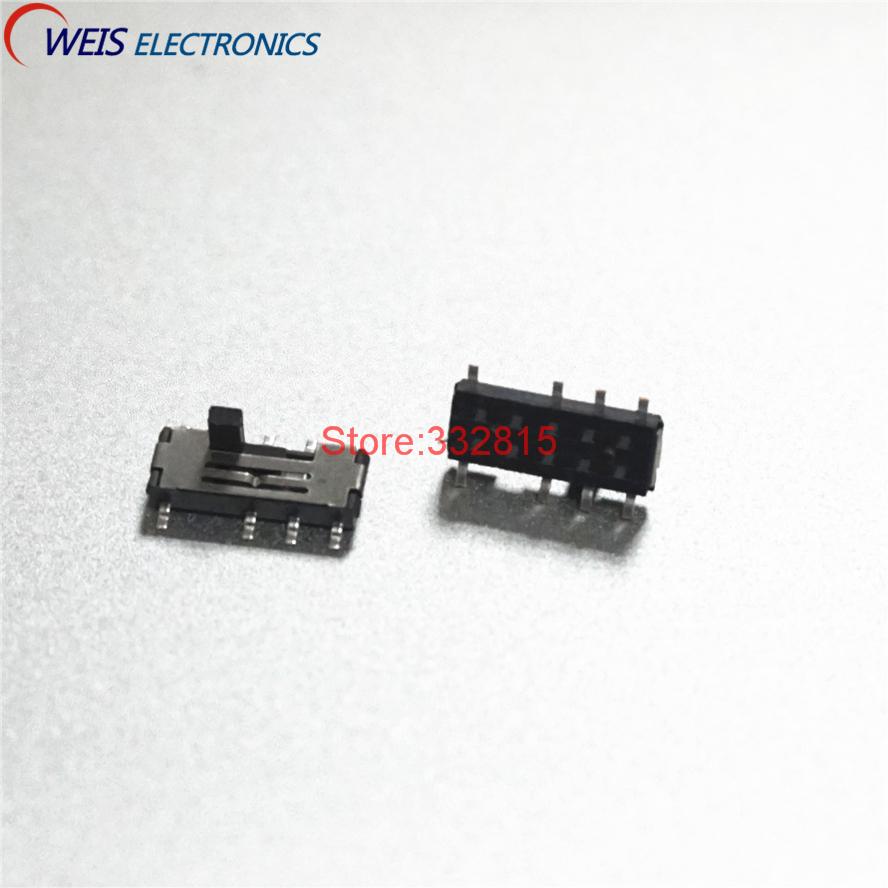20 шт. MSS23C02 MSS-23C02 SMD 8PIN 2P3T DPTT тумблер боковые Скользящие переключатели ручка ROHS Бесплатная доставка D.