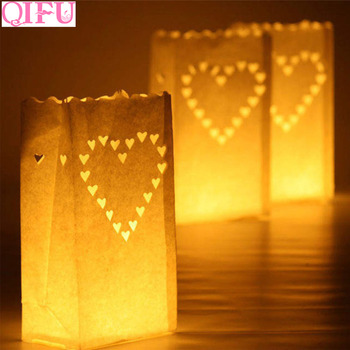 QIFU 10pcs White Paper Latern Candle Holders Bags Outdoor Tea Light Holder Romantic Wedding Decoration Birthday Party Supplies image