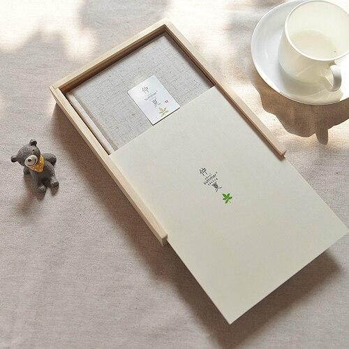 Madera en caja tela cubierta diario notebook, simple páginas en ...