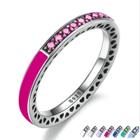 2017 Spring Really 100 925 Sterling Silver Red CZ Lilac Enamel Ring For Women Engagement Ring
