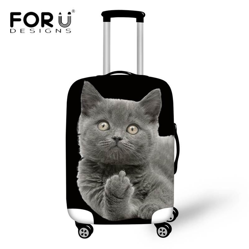 FORUDESIGNS Elastic Suitcase Protective Covers Middle Finger Cat 3D Print Travel Luggage Cover For 18-30 Inch Trolley Case Bags
