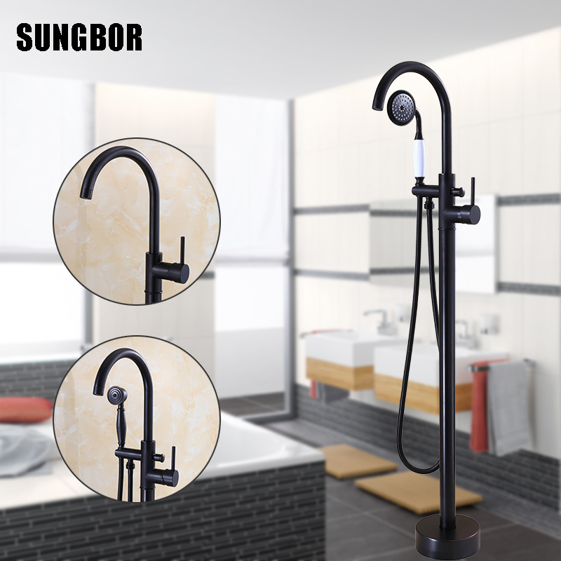Antique Black Bronze Floor Stand Bathtub Faucets with Hand Shower Floor Standing Bath Faucet Single Handle Mixer Tap HD-2678H