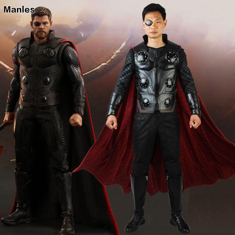 Мстители Бесконечная война Тор Косплэй человек костюм супергероя наряд Мстители 3 фантазия Одежда Хэллоуин сапоги плащ взрослых Для мужчин