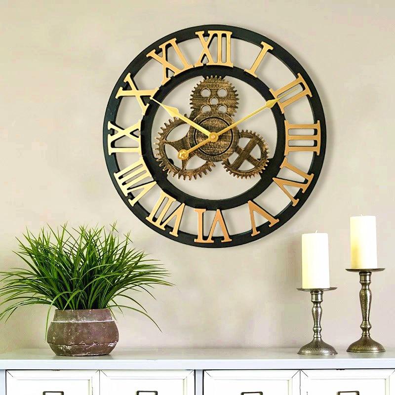 Nordic Creative Retro-ancient Wooden Wall Clock Decorative Living Room Circular Gear Clock Fine Workmanship Beautiful Design.