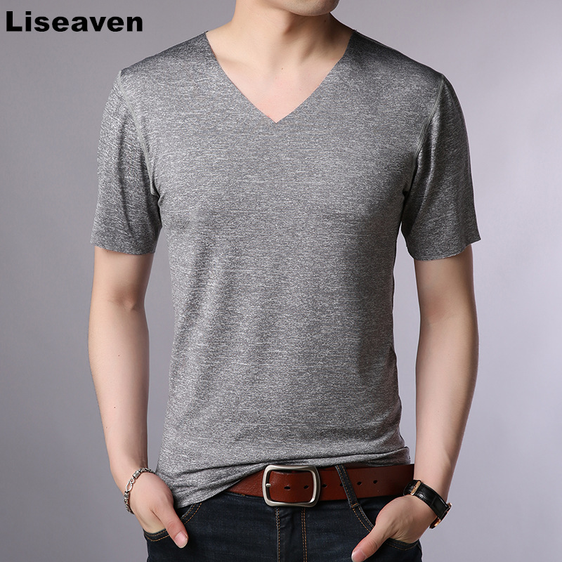 Men/'s V Neck cotton T-shirt Slim Fit Short Sleeve Solid Color Casual T Shirt New