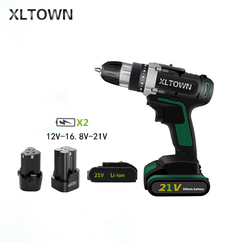 XLTOWN 12/16.8/21V cordless lithium electric drill With 2 battery multi-function rechargeable electric screwdriver Power Tools xltown 12 16 8 21v cordless lithium electric drill with 2 battery multi function rechargeable electric screwdriver power tools