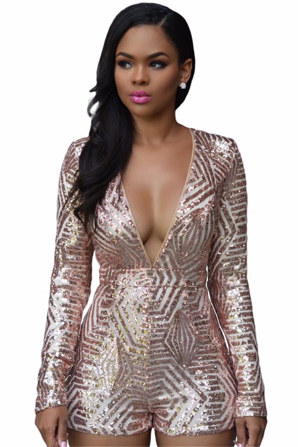ABYABYGO Sexy Overalls Rompers Women Bodycon Jumpsuit Shorts Sequin Long Sleeve Catsuit Salopette Jumpsuit Beyonce Body Suit 6