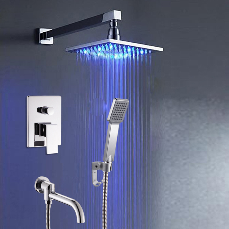 Modern Wall Mounted Bathroom Square LED Light Rain Shower Mixer Faucet Single Lever Swivel Tub Shower