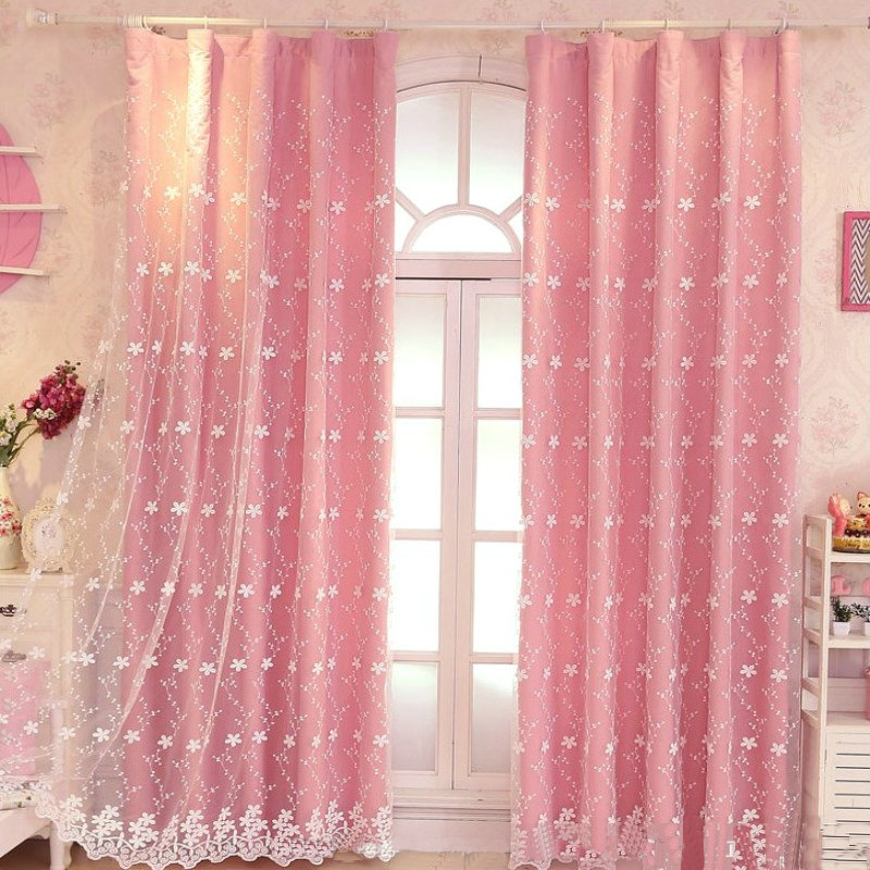 Luxury Embroidered Tulle Blackout Curtain for Girls Living Room Bedroom Princess Style Floral Printed Drapes Window Decoration ...